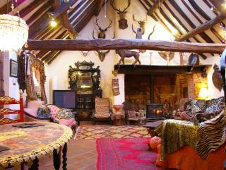 The Oriental Brewhouse. A woodburning stove is in the inglenook fireplace.