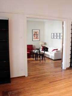 Dining and living room can be separated from bedroom, or used as one large space.