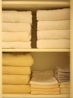 Linen Closet furnished with all the towels you need.
