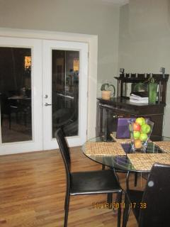 Dining room - french doors are great to open in the summertime.