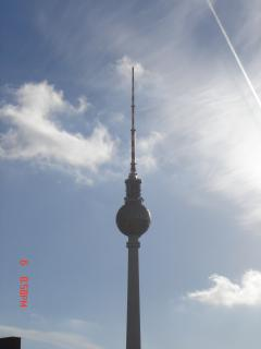 A view from the balcony. The famous TV tower in Alexanderplatz.
