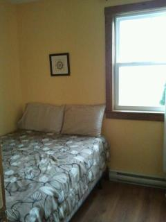 1st bedroom with a double bed, lower level