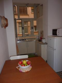Breakfast Table, Fridge, Microwave, Toaster, Water-boiler, Gas Stove in Kitchen