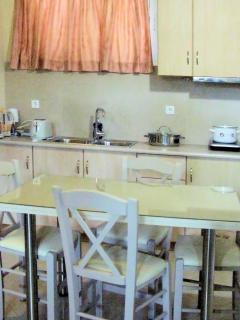 Full equiped kitchen in family studio with bathroom and exit to the pool