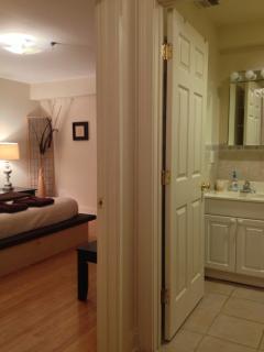 Bathroom is between the 2 bedrooms