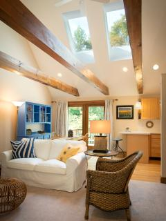 Open living space with exposed wooden beams and skylights