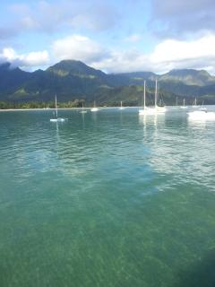 Crystal Clear Blue Hanalei Summer Day Perfect for Swimming, Sailing, Stand-Up Paddling