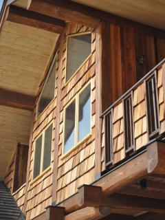 Cedar shake outside the balcony and sunroom