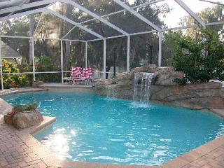 pool with rock falls