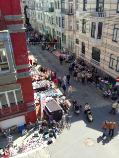 view of street with flea market every year in June