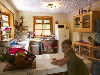 Muy bien equipada abierta cocina y barra desayunadora.