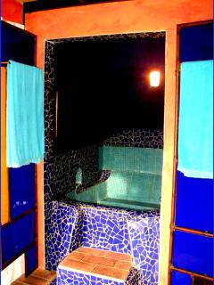 Casa do Theatro seperate shower room in marrocain style in fresh blue tones next to the toilett room