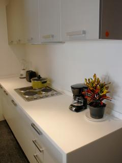 The kitchen is fully equipped for 6 people and with all you need in order to cook a good meal.