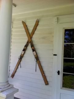 front door with vintage skis