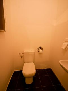 There is also an extra toilet next to the kitchen
