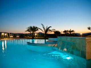 the pool at the sunset, woth palm trees
