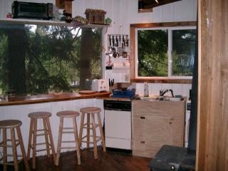 Fully Equipped Kitchen with Filtered View of  Majestic, Snow-Covered Mt. Adams