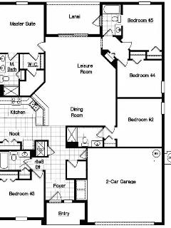Floor Plan Front of 5 Bed 4 Bath Cypress Pointe Pool Ho