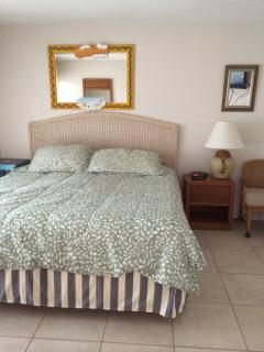 Master bedroom suite with king size bed & Large sliding glass doors accessing the private balcony