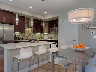 Modern kitchen with espresso cabinets, quartz countertops, high end stainless steel appliances