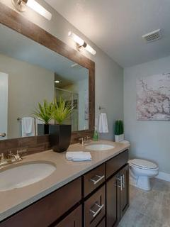 Master bath with dual sinks, 3/4 bath, tile floors, quartz countertops