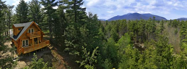 180 degree aerial panoramic showing house, Ausable River and Whiteface Mt