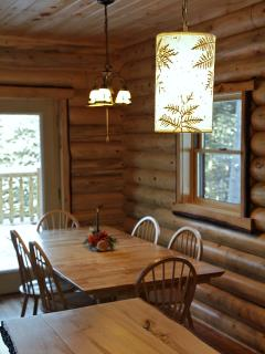 handcrafted rustic Adirondack cedar lighting over kitchen island