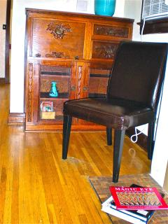 One of the many charming Craftsman Bungalow style Built-ins includes this hand-carved 'Secretaire' in the Living room