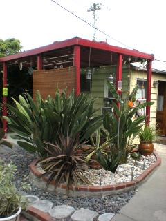 The semi covered patio oasis is the heart & soul of the back yard
