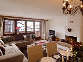 Living room with sunny balcony and splendid Matterhorn views