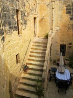 An outside stone stair