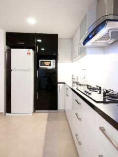 High gloss cabinets, solid black granite worktop