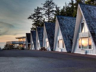 Dog-friendly, oceanfront A-frame chalet with view, loft, and room for six!