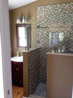 The third new bathroom, with walk in tiled shower