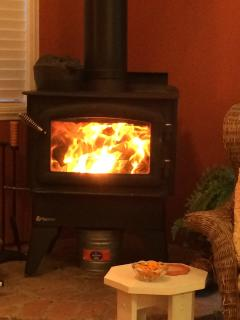 Wood stove burning natural firewood (no manufactured wood accepted in stove)