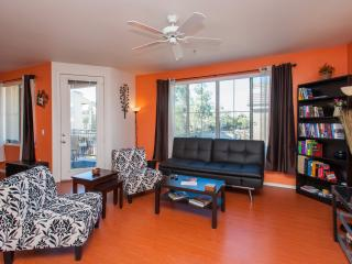 The living room has plenty of space. Flat screen TV with DVD and BluRay with a movie library.