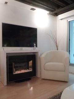 Large flat TV, decorative fireplace