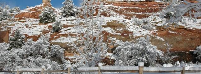 Snow on our red rock cliffs.
