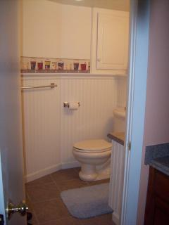 Immaculate bathroom with stall shower