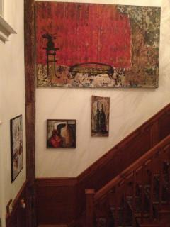 Staircase with some of  the Dacha's art