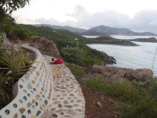 Talking rock bench with the view of St thomas in the background looking east.