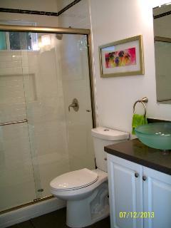 Master bath with glass vessel sink