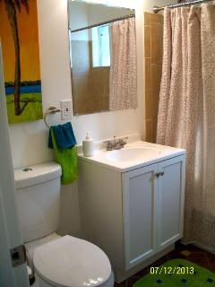 Full bathroom off hallway