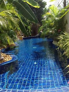 Lagoon style swimming pool