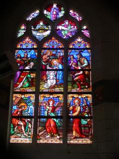 Historical stained glass window in the abbey