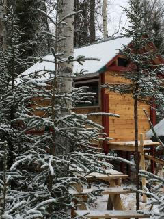 New sleeping cabin picture taken April 10, 2014 after a late spring snowstorm!