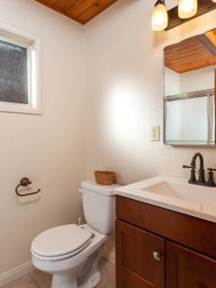 Bathroom has full sized shower/tub combo, new vanity