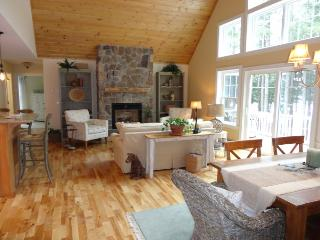 High wood ceilings + open concept living and dining