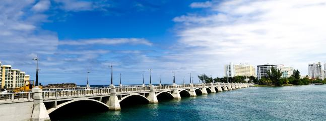 bridge over the lagoon( connects from the aparment to condado)