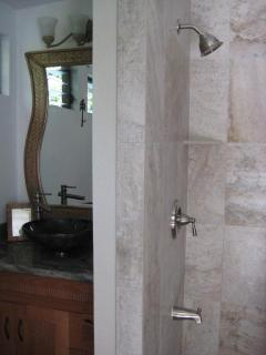Shower with etched glass door